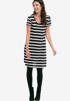 Printed Cap Sleeve Tunic by ellos®, BLACK WHITE STRIPE