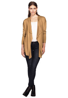 Draped Open Front Cardigan,