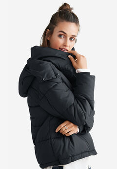 Short Hooded Puffer by ellos®, BLACK