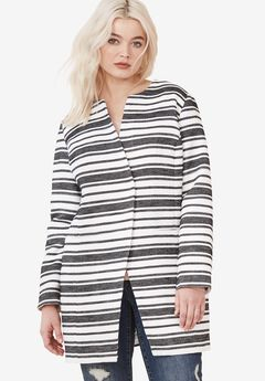 Mari Jacquard Striped Coat by ellos®,