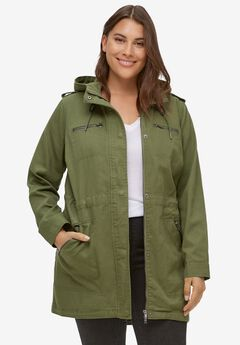 Hooded Anorak Denim Jacket by ellos®, OLIVE GREEN TWILL