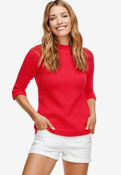 3/4 Sleeve Mock Neck Sweater by ellos®,
