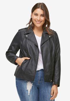 Faux Leather Moto Jacket by ellos®, BLACK