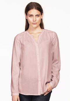 Notch Neck Button Front Blouse by ellos®,
