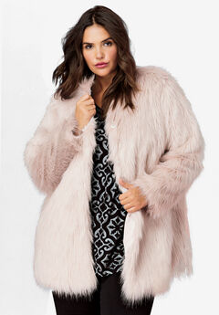 Faux Fur Snap Front Coat by ellos®, PALE BLUSH