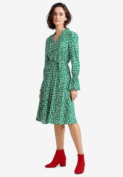 Ruffle Trim Tie-Waist Dress by ellos®,