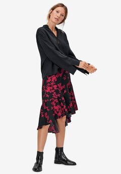 High-Low Flounce Skirt, BLACK MAROON RED PRINT