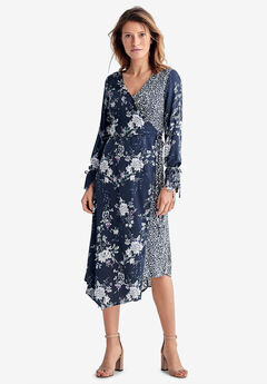 Mixed-Print Wrap Dress by ellos®, NAVY MULTI FLORAL