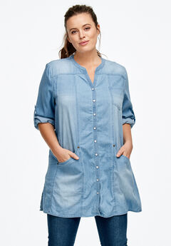 Snap Front Denim Tunic by ellos®,