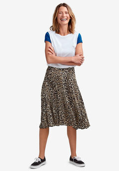 Soft Pleated Skirt, ANIMAL PRINT
