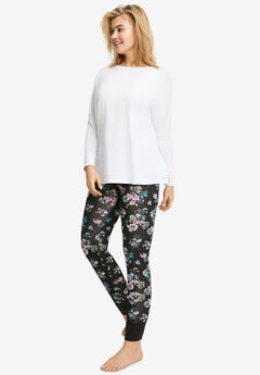 Rib Trim Sleep Leggings,