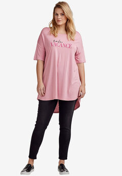 Screen Print Hi-Low Tunic By Ellos®, ROSE MIST