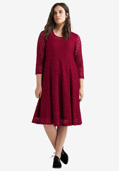 Fit & Flare Stretch Lace Dress by ellos®,