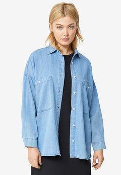 Oversized Button-Front Denim Shirt,