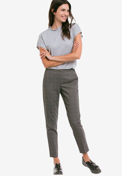 Slim Back Elastic Cropped Pants, GREY BLACK PLAID
