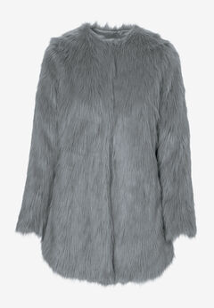 Faux Fur Snap Front Coat by ellos®, GUNMETAL