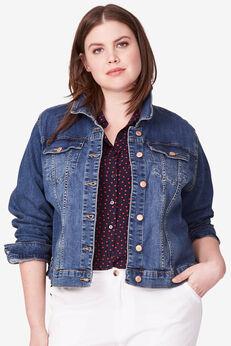 Cropped Denim Jacket by ellos®, LIGHT STONEWASH