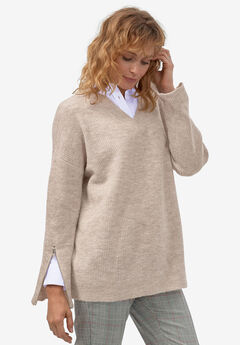 Zip-Sleeve Sweater by ellos®, CREAMY BROWN MARLED