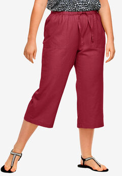 Linen Blend Drawstring Capris, FRESH POMEGRANATE