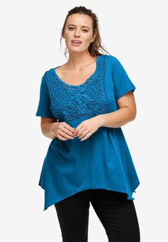 Crochet Trim Empire Tunic by ellos®,