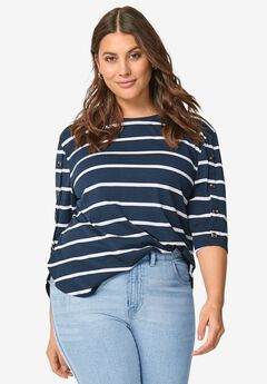 Striped Button Sleeve Tee,