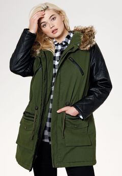 Quilted Faux Leather Sleeve Parka by ellos®,
