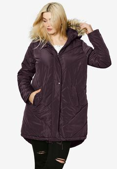 Faux Fur Hooded Parka,