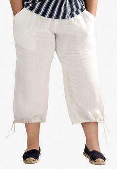 Linen Blend Tie Hem Capri by ellos®,