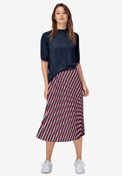 Stripe Sleeve Mock Neck Top by ellos®,