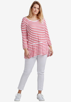 Venice Peplum Tee by ellos®, WHITE CORAL RED STRIPE