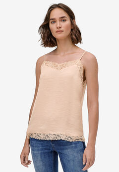 Lace-Trim Satin Cami by ellos®, SOFT BEIGE