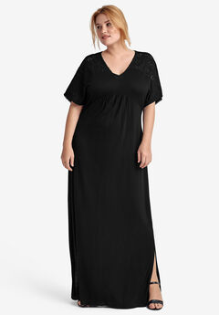 Eyelet Trim Knit Maxi Dress,