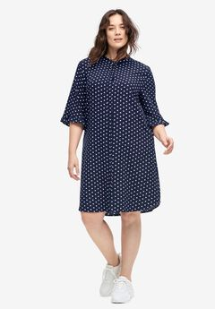 Flounce-Sleeve Shirtdress,