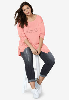 Beaded Applique Hanky Hem Sweater by ellos®, ROSE BLUSH WITH LOVE
