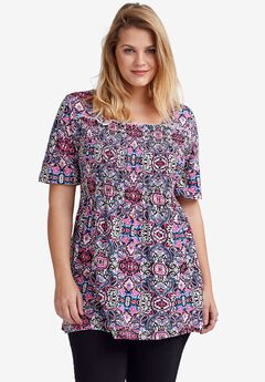 Smocked Square Neck Tunic by ellos®,