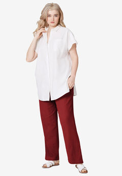Linen Blend Drawstring Pants, FRESH POMEGRANATE