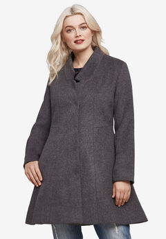 Notch Neck Fit and Flare Coat, HEATHER CHARCOAL