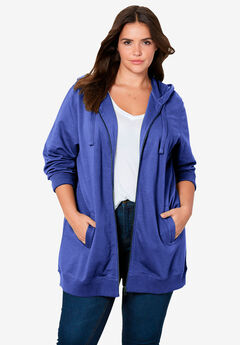 Long Zip Front Hoodie by ellos®, BLUEBERRY