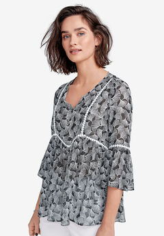 Crochet-Trim Print Tunic by ellos®,