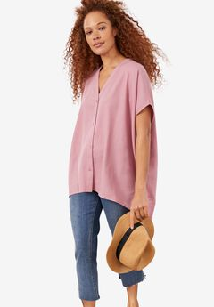 Button-Front Linen-Blend Tunic by ellos®,