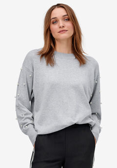 Pearl Trim Pullover Sweater by ellos®,