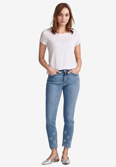 Embroidered Scallop-Hem Jeans by ellos®,
