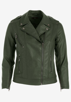 Faux Leather Moto Jacket by ellos®, DEEP OLIVE