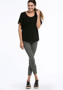 Zip Pocket Twill Jeggings, BLACK WHITE PRINT