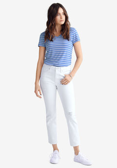 Cropped Slim Jeans by ellos®, WHITE DISTRESSED