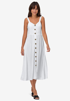 Button-Front A-Line Dress by ellos®, WHITE