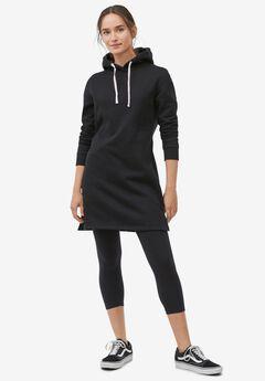 Knit Capri Leggings, BLACK