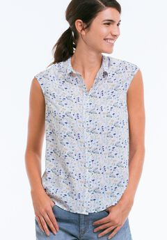 Sleeveless Button Front Blouse, FLORAL PRINT