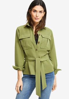 Belted Utility Shirt Jacket,