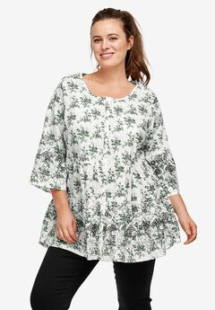 Tiered Floral 3/4 Sleeve Tunic, PINE WHITE PRINT